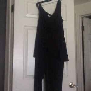 Black One should peplum jumpsuit